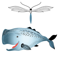 whale and butterfly
