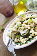 Pasta with courgette, feta and mint