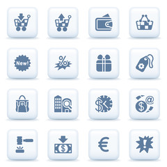 Commerce blue icons on white buttons.
