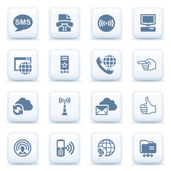 Communication blue icons on white buttons.