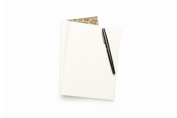 open blank book with black pen, isolated on white