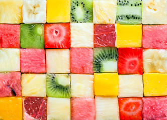 Photo sur Plexiglas Fruit Background pattern and texture of fruit cubes