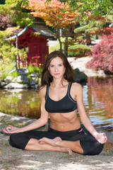 Healthy Attractive Woman Practices Yoga Relaxation Technique