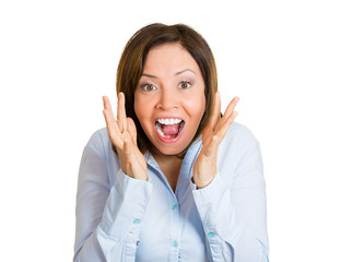 Surprise, happy excited woman on white background