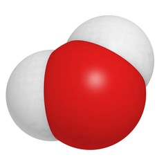 Water molecule, chemical structure.