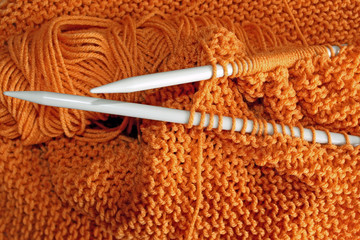 Knitting project on needles in Garter Stitch