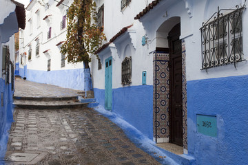 Street in medina of blue town Chefchaouen, Morocco