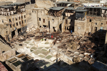 Small Tanneries of Fes, Morocco, Africa
