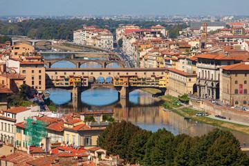 Panoramic view of Ponte Vecchio (Old Bridge), Florence, Italy