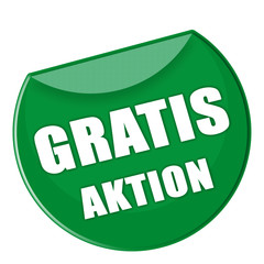 Button Gratis Aktion in grün - g863