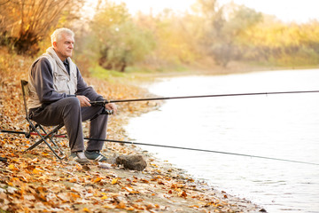 Printed roller blinds Fishing Senior men fishing by the lake.