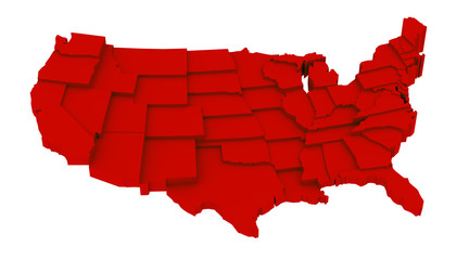 United States red map by states in various high levels.