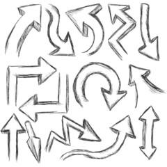 Vector Set of 3D Sketch Arrows