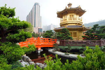 The Golden pavilion and red bridge in Nan Lian Garden, Hong Kong