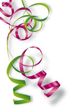 Rubans cadeaux vert et rose (bolduc)