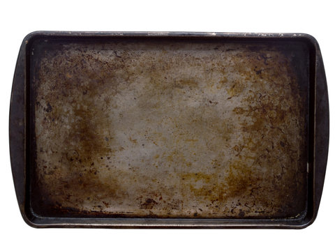 stained baking tray