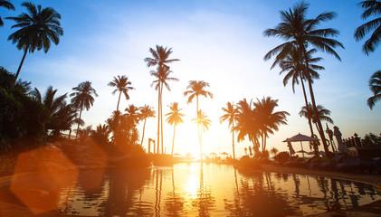 Beach in the tropics, beautiful sunset.