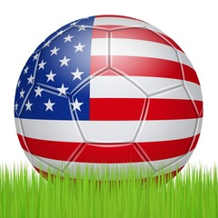Soccer ball in the colors of the USA on the lawn
