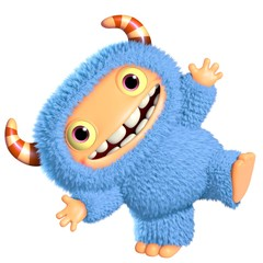 Canvas Prints Sweet Monsters 3d cartoon blue monster