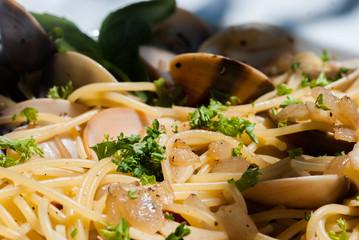 Close up Spaghetti Vongole with Chilli