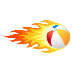 Flaming beach ball