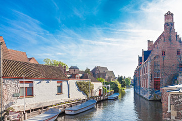 Wall Mural - Canal with boats in Bruges