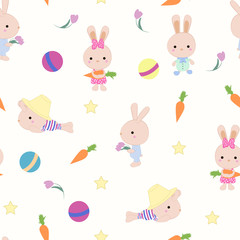 Kids cute seamless pattern with bunnies on white