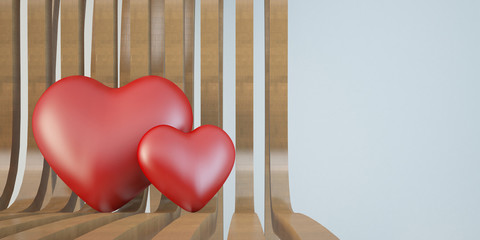 two 3d heart on wooden chair, love concept