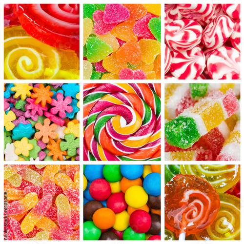 Fototapete Collage of candy and sweets