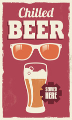 Vintage retro beer sign - vector poster design