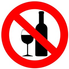 prohibited alcohol drinking sign