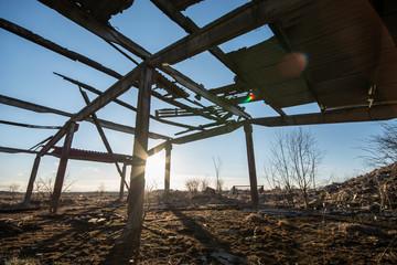 Broken roof, Ruined barn house