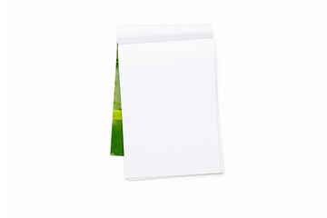 blank open note pad with green cover, isolated on white