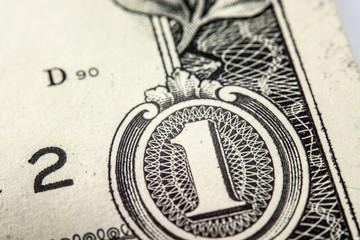One dollar bill, super macro