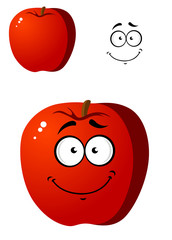 Cartoon smiling happy red apple fruit