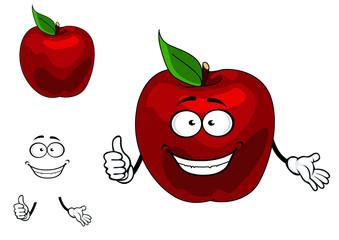 Happy red cartoon apple fruit