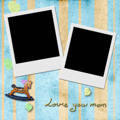 Love you mom,  two Instant Photo Frame in blue background