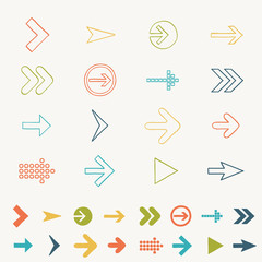 Arrow sign icon set doodle hand draw vector illustration of web