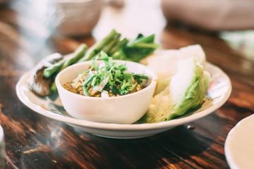 Nam Prik Num Northern Thai Green Chilli Dip with vege