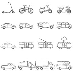 Vector Set of Sketch Ground Transportation Icons
