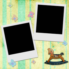 Two Instant photo frame in chid background