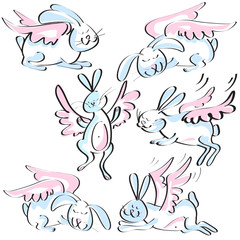 set of cute rabbits with wings sketch in pink blue colors