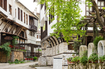 Street view of Melnik traditional architecture, Bulgaria