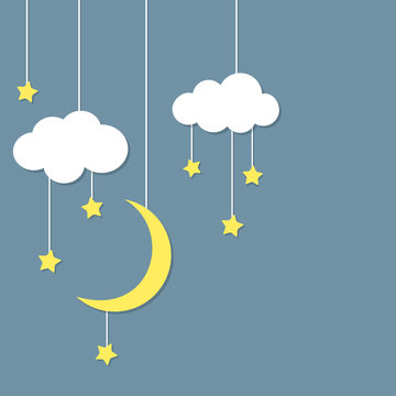 Night background with new moon, stars and clouds hanging