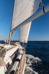 Rigging, ropes, shrouds and sail crop