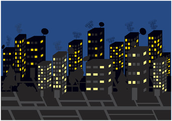 skyscrapers and streets by night, vector background