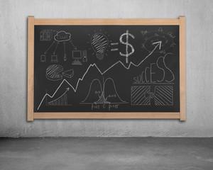 Business concept doodles on blackboard