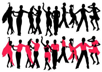 Dancing people color set