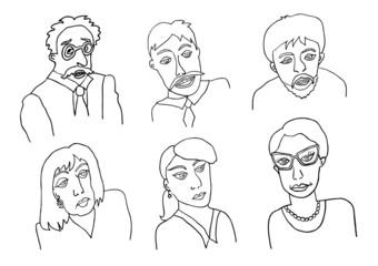 faces hand drawn set