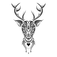 Deer head. Ethnic pattern.